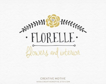 Hand Drawn Logo, Premade Custom Logo, Premade Logo Design, Photography Logo, Flower Logo, Rose Logo, Floral Logo