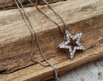 Sterling silver Star Cubic Zirconia necklace 22 inch sterling silver chain