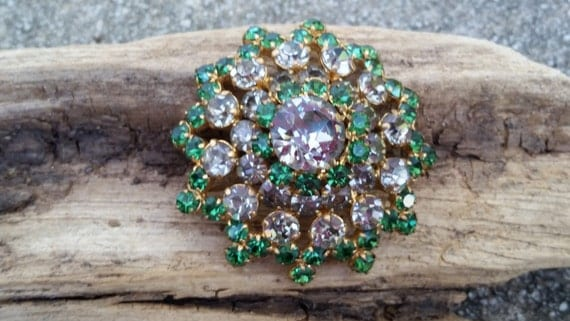 April Showers Sale Vintage 1940's Austrian bright domed rhinestone brooch with green and clear Brilliant and Princess cut stones