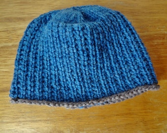 Hand Knit Wool Baby Hat Blue with Brown Trim