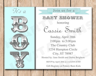 Fancy Boy Baby Shower Invitation | Shabby Chic - 1.00 each printed or 10.00 DIY file