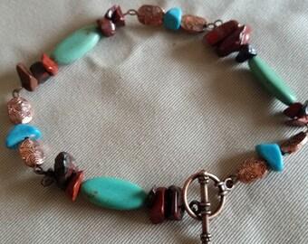 Magnesite, Red Jasper, & Turquoise Bracelet