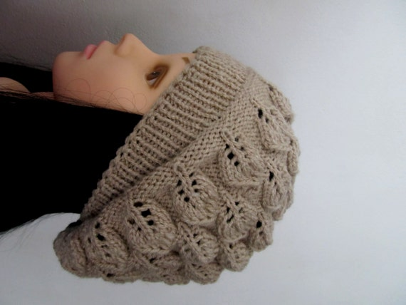 Leaf Beret Knitting Pattern : Items similar to Beige leaves Women Knitted hat beret beanie-Women Slouchy,Fa...