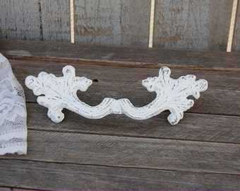 "French Drawer Pulls, Shabby Chic, White, Ornate, Hand Painted, French Provincial, Drawer Pulls, 4 1/8"" Center, Cast Iron, Handles"
