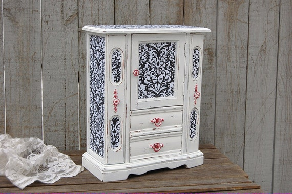 Jewelry Armoire Shabby Chic Jewelry Box Damask Black