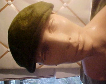 1950s Olive Green Felt Hat, Label: Lily New York H48