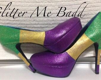 MARDI GRAS themed Tri-Colored heels