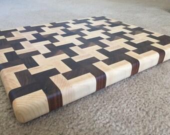 Handmade Butcher Block Cross Design End Grain Cutting Board Walnut and Maple
