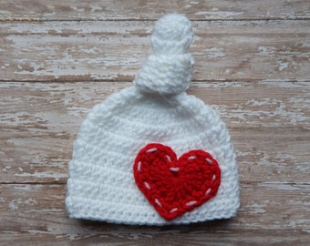 Valentine's Day Baby Girl Hat, Heart Baby Hat, Sweetheart Baby Girl Knit Hat, Crochet Newborn photography prop baby girl knit hat pink