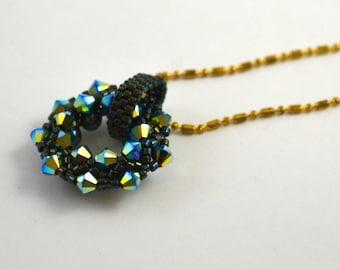 Swarovski Crystal Circle Necklace Jet Black
