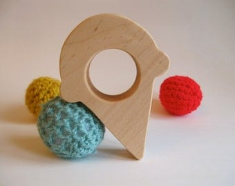 Wood Toy -  Ice Cream Cone Teether - organic, safe and natural for baby