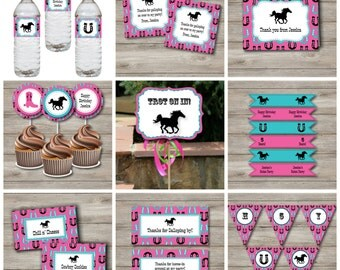 Horse Party Kit with Editable Text, Printable Horse Birthday Party Kit with Custom Text, Changeable Text Printable DIY Horse Theme Party Kit
