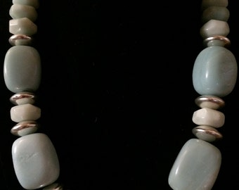 chunky amazonite and pewter