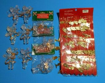 Lot of 9 Plastic Angel Christmas Tree Ornaments + 12 Garland (Violin, Horn, Trumpet)