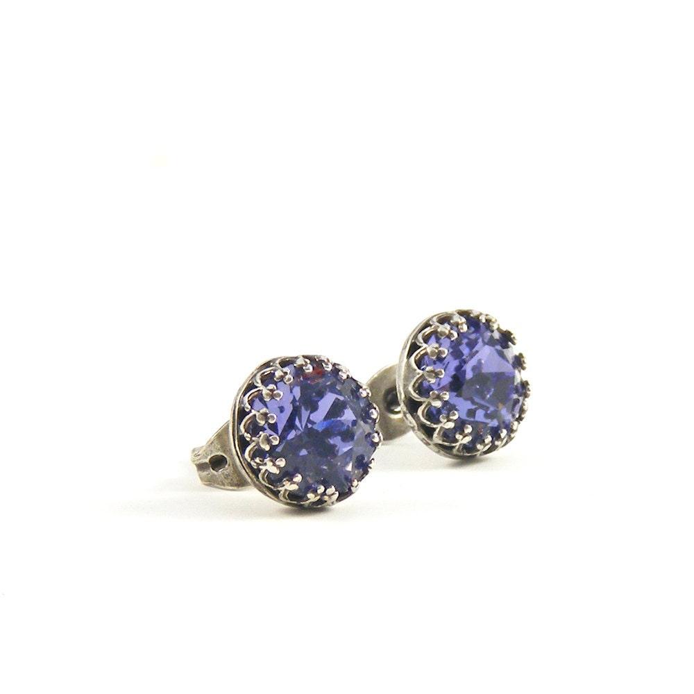 Purple stud earrings, dainty December birthday birthstone jewelry, simple silver post earrings with sparkly tanzanite Swarovski crystal