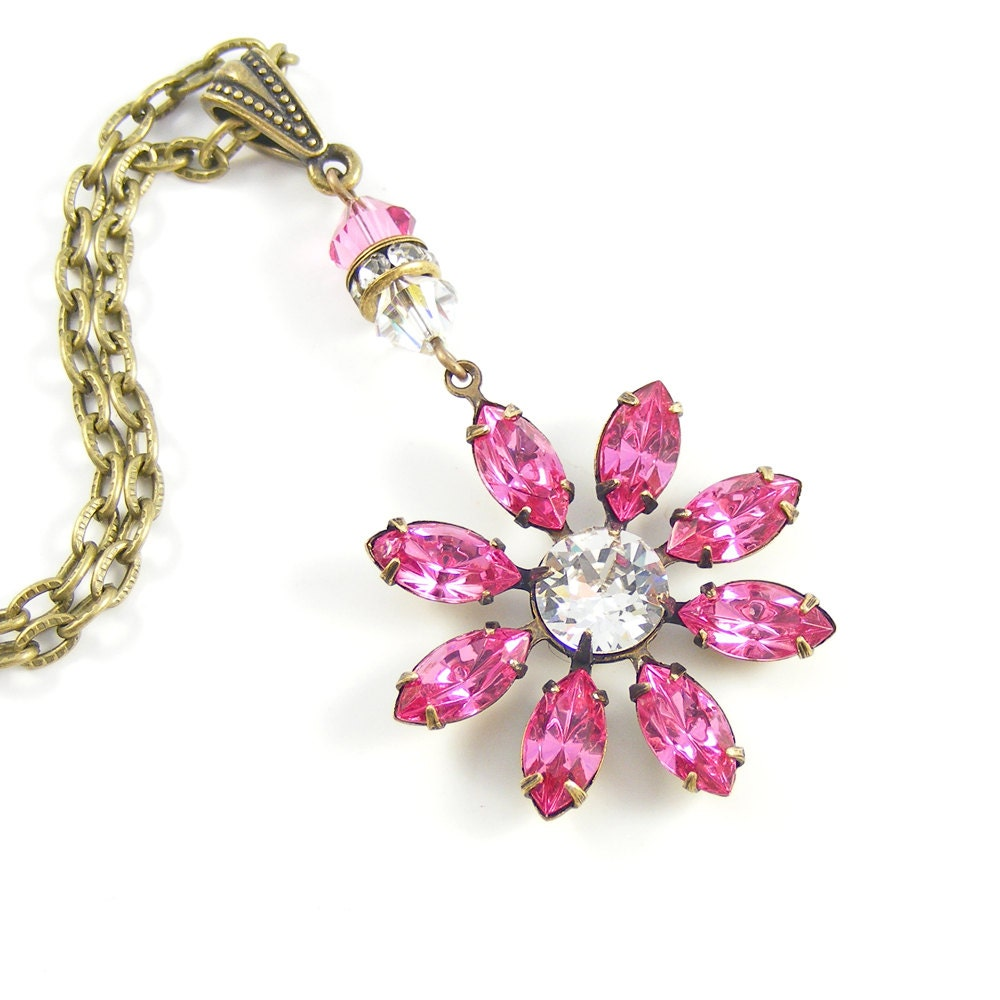Rose Pink Necklace, 1950s Vintage Swarovski Crystal Flower Pendant, Bridal Jewelry, Floral Mothers Day Gift, Victorian Inspired
