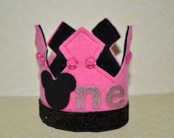 Inspired Minnie Mouse Birthday Crown, First Birthday Felt Crown