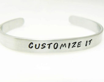 Graduation gift bracelet customized hand stamped bracelet aluminum skinny cuff bangle gift for friend your own text