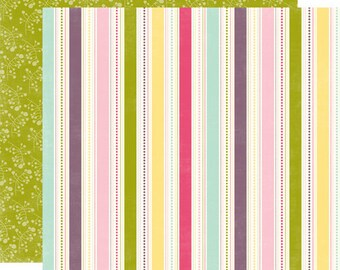 2 Sheets of Echo Park Paper SPRINGTIME 12x12 Scrapbook Paper - Seasonal Stripe