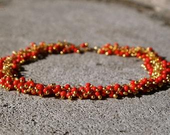 Red Coral Bracelet 14k