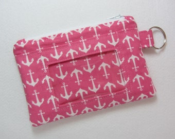 Pink Anchor / Nautical Keychain ID Wallet w/ Split Ring, Student / Teacher / Work ID, Badge, Zip Pouch, Coin Purse - 2 Options for ID Pocket