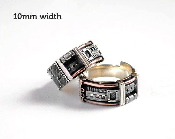 Sterling Silver Industrial Wedding Rings