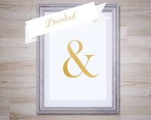 Gold Leaf Ampersand Art Print 8x10, Instant Download, Ampersand Printable, DIY, Digital Download, Ampersand Decor, Gold Art, Modern