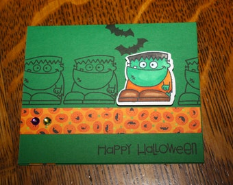 Handmade, hand stamped, Copic colored Halloween Card