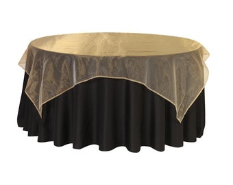 90 inch Square Organza Table Overlay Gold | Wedding Table Overlays
