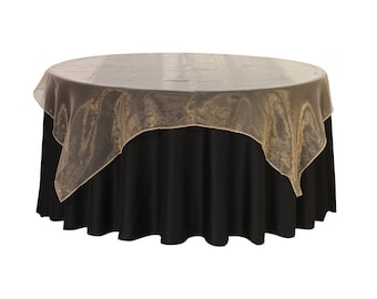 72 inch Square Organza Table Overlay Champagne   Wedding Table Overlays