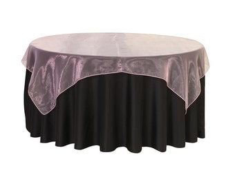 72 inch Square Organza Table Overlay Pink | Wedding Table Overlays
