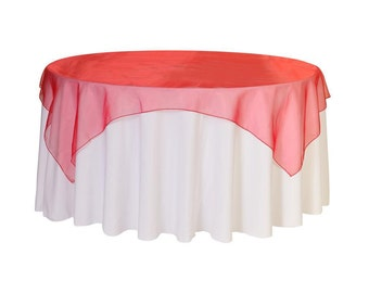 72 inch Square Organza Table Overlay Red | Wedding Table Overlays
