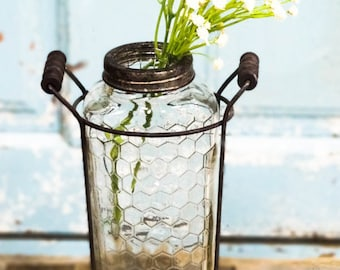 Glass Vase With Metal Flower Lid