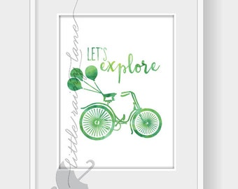 wall art - let's explore - art with bike - wall decor