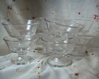 Pedestal Dessert Cups, Set of 8 Vintage Clear Glass