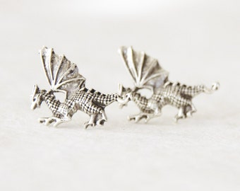 Dragon Earrings/ Silver Dragon Studs