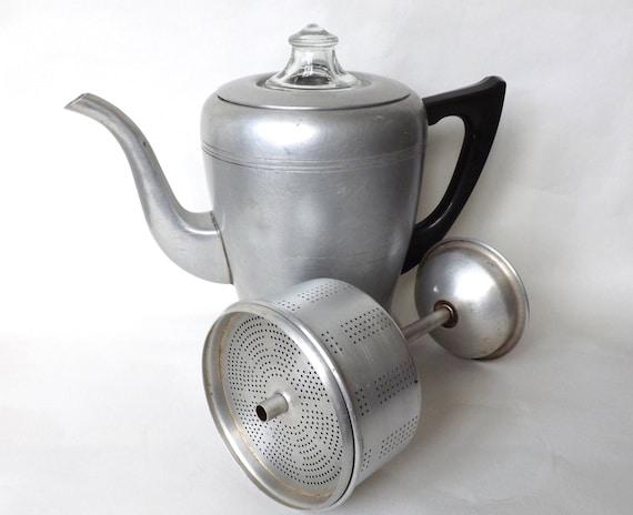 Swan Coffee Maker Replacement Jug : 1950s Vintage Aluminum Stove Top Drip Coffee Maker Perk Pot