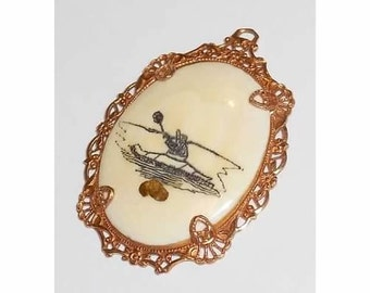 Victorian Openwork Ivory Scrimshaw 10K GF Man in a Boat PENDANT for Necklace-Antique Jewelry