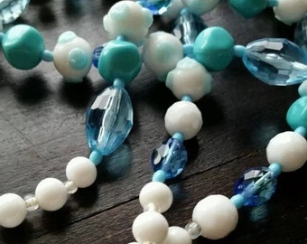 """Vintage murano glass necklace 53"""" opera length baby blue & white milk glass bead Perfect condition"""