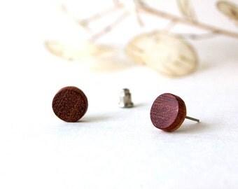 Mahogany Stud Earrings, Mahogany Earrings, Wooden Stud Earrings, Men Earrings, Mahogany Jewelry, Wooden Earring, Silver 925, Natural Earring