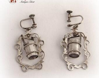 Vintage Water Bucket Earrings Screw Back 1950s Jewelry Japan