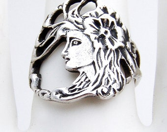 Art Nouveau Ring Sterling Silver