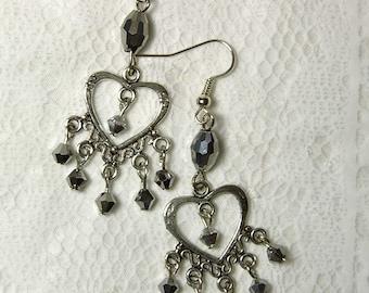 "Cynthia Lynn""ALLURING"" Silver Plated Glass Crystal Heart Chandelier Earrings 2 in."