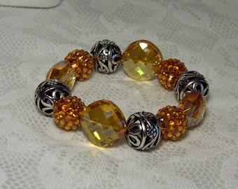 """Cynthia Lynn """"VIBRANT"""" Silver Orange Crystal and Luxury Bead Stretch Bracelet 7.5-8"""""""