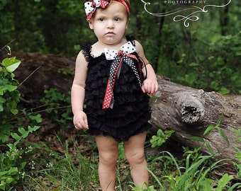 Lady Bug Birthday Outfit/Black Lace Romper/Baby Romper/Black Baby Romper/Girl Romper/Newborn Romper/Toddler Romper/Lace Romper/Birthday