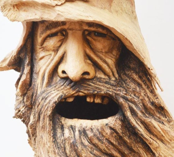 Wood carving spirit face sculpture handmade in ohio by