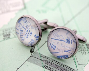 Gift  for a Pilot Cufflinks Holiday Gifts for Air Force Husband Dad Pilot Cuff Link High Altitude New York Airport Pilot Charts