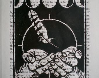 Wisdom -  Hand pulled linocut print