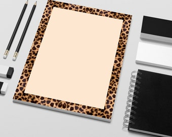 "Stationery Printable Leopard Print Border Design.  DIY Instant Download Print From Home Or Local Printer On 8.5"" x 11"" Paper."