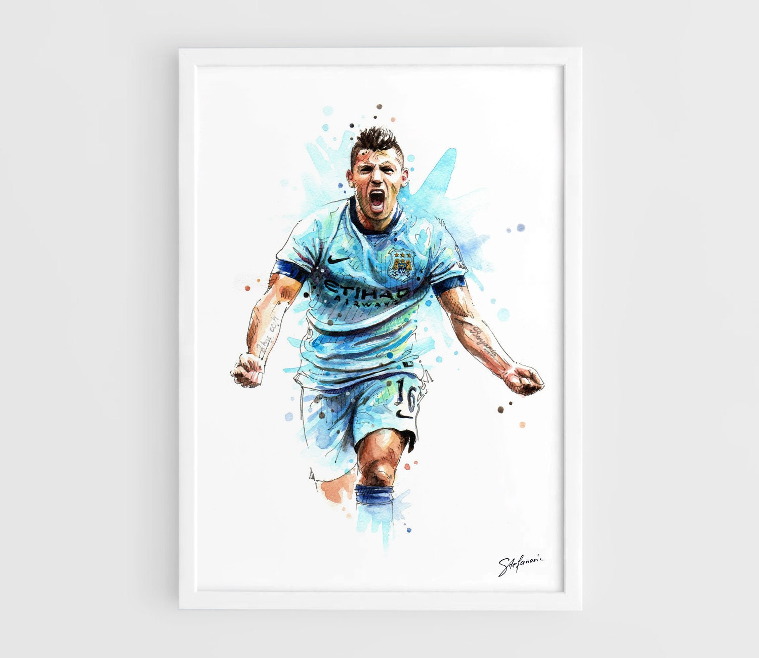 sergio kun aguero manchester city a3 wall art print poster. Black Bedroom Furniture Sets. Home Design Ideas